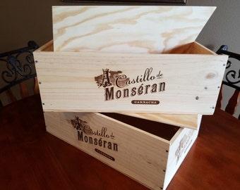 Castillo de Monseran Garnacha wine box/ Crate w/sliding lid