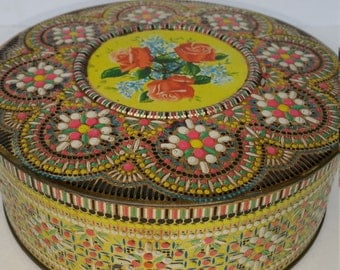 Beautiful Colorful Vintage Embossed And Raised Design Daher Tin Made In England