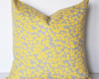 FLORAL PILLOW COVER // Gray and Yellow Pillow Cover, Gray Pillow, Yellow Pillow, Gray and Yellow, Cushion cover
