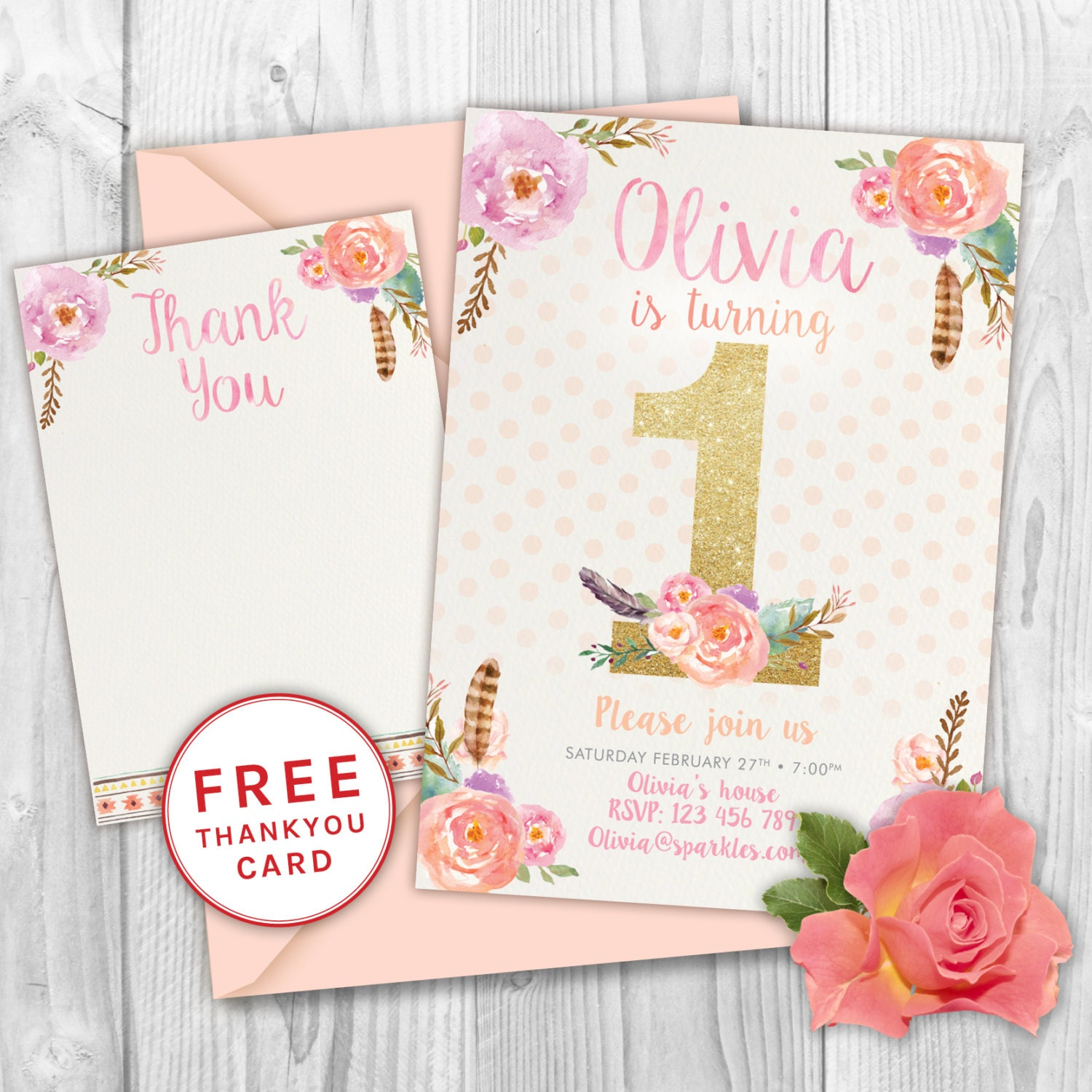First Birthday Invitation Floral Birthday Invite Glitter
