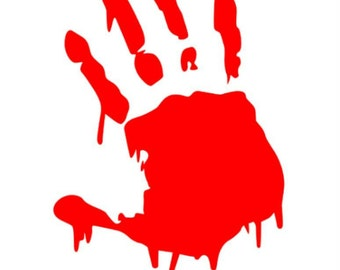 Ships FREE in U.S. - Bloody Handprint - Dead Inside decal - Zombie decal - Horror decal