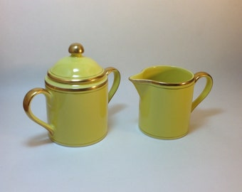 Fitz and Floyd Fine Porcelain Pavillon Gold Trimmed Creamer and Covered Sugar Bowl Japan 293