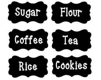 Kitchen Food Pantry Vinyl Labels Customize Set of 6, Food Labels, Pantry Stickers
