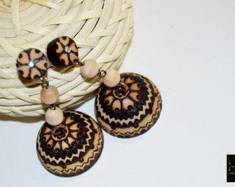 Wooden Jhumka,Jhumka,Jhumka, Bollywood earring,earring,wooden jewelry, chaand Bali, meenakari, wood earring handmade wood burned jewelry,