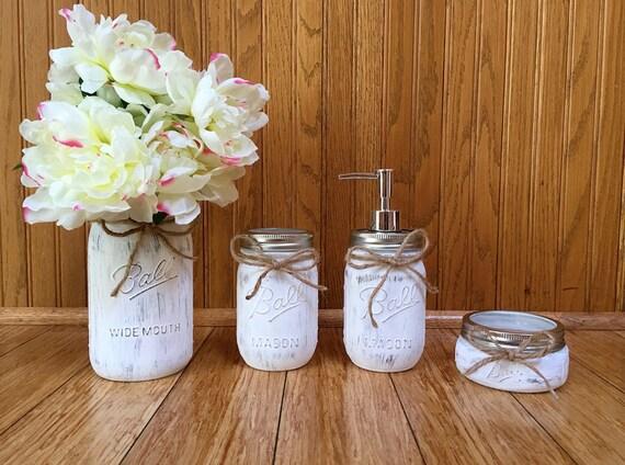 Bathroom Decorations For Wedding : Mason jar bathroom set decor by sevsmasonjarboutique