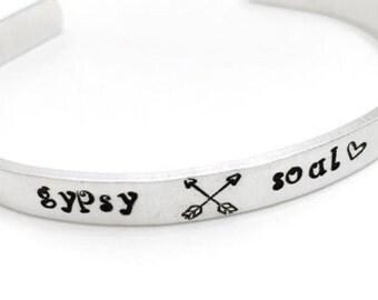 Gypsy Soul Hand Stamped Cuff Bracelet | aluminum | nugold | copper | bohochic| bohemian life | hippie style | free spirit | wanderlust