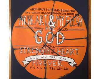 Psalm 73: 25-26 Basketball Canvas