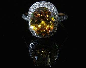 Large Yellow Sapphire & Paste Cluster Ring