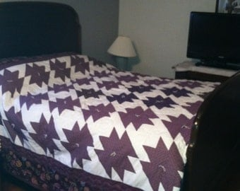 "NEW Purple and White, Hand quilted, Hand Tied, Queen Quilt, Queen Comforter, 92"" x 100"""
