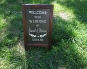 Wedding Chalk Board Sign,  Chalk board Easel, Shabby Chic Chalkboar Sign, Reception Sign