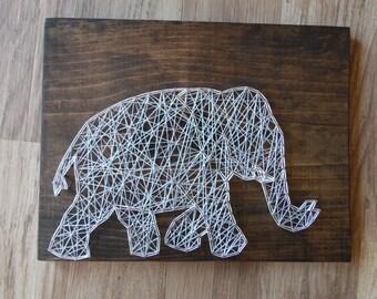 Elephant String Art, Elephant Art, Elephant Decor, Nursery Art, Nursery Baby String Art, Elephant String Design, Elephant Design