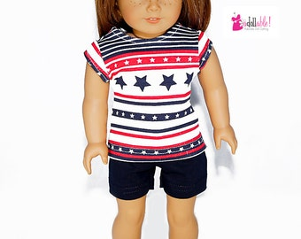Special Sale 18 inch Doll Clothing, Red/White/Blue Stars & Stripes Top, Navy Blue Short/Leggings made to fit like American girl doll clothes