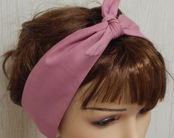 Pink self tie headband dolly bow retro hair scarf tie up head scarf bandana 50's head accessories