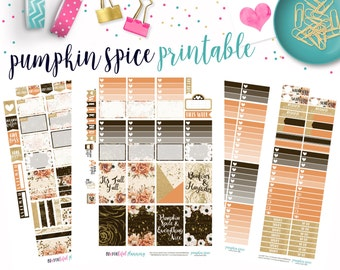Pumpkin Spice | Weekly Printable Planner Kit | Planner Stickers | Cut Lines | for use with Happy Planner | Planner Stickers Printables