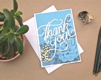 Hand Made thank you card blank empty stationery flowery garden colorful