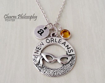 New Orleans Necklace - Sunglasses Charm - Monogram Personalized Initial and Birthstone