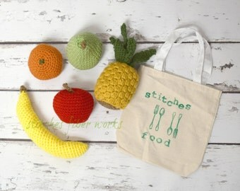 Crochet Food, Crochet Fruit Play Set, Play Food, Crochet Fruit, Crochet Food Toy, Pretend Food, Pretend Fruit, Pretend Play