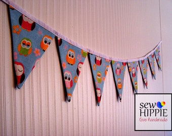 Fabric Flag Bunting Baby Owls Nursery Playroom Birthday Party