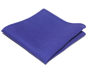 "Royal Blue Linen Pocket Square.Mens Pocket Square.Royal Blue Wedding Handkerchief.Gifts.10""x 10"""