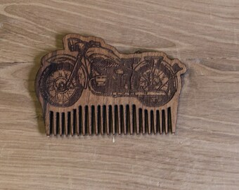 Moto Handmade Wooden Beard Comb - Beard Brush - Custom Beard Comb - Gift For Him - Custom Comb - Engraved Comb