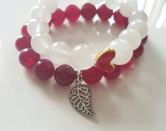 Jade bracelet, heart bracelet,Stone bracelet