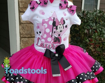 Pink and Black Minnie Mouse Inspired Tutu Set
