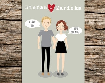 Personalized Drawing - Couple Portrait - Custom Illustration