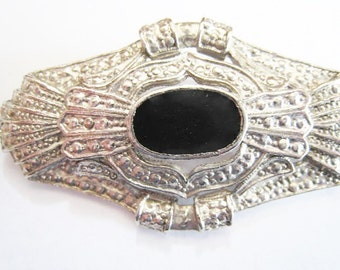 Silver Tone Black Center Pin