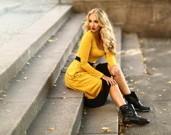 Yellow and black dress- Midi dress-Long sleeves jersey dress