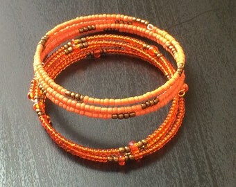 Seed bead bracelet: Petite Oranges