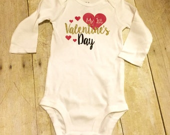 First Valentines Day bodysuit onesie long sleeved baby girl infant shirt