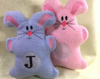 Fleece Softie Stuffed Bunny Animal with Monogram Option