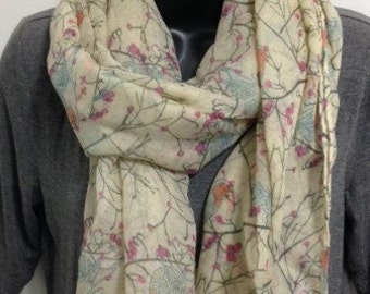 Cotton Scarf Large Women's Woodpecker Bird Beige