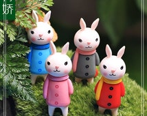4PCS Rabbit W/Scarf Figure Fairy Garden Accessories, Miniature Minions Figurines DIY Moss Succulent Terrarium Suppliers