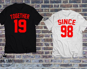 TOGETHER SINCE shirts,  matching couples set of t-shirts with custom year, together since couples shirts