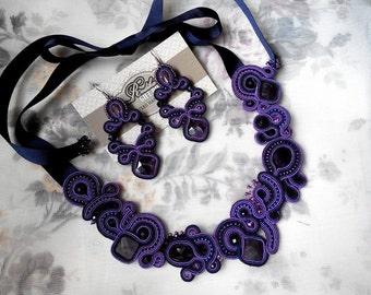 "soutache JEWELRY SET handmade necklace ""LAVANDER"""