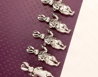 Rabbit Charm. 5pcs Antique Silver Tone 3D White Rabbit Charm Charms 36x15mm. Alice in Wonderland Rabbit Charm. Rabbit Pendant. - (5 - 0027D)