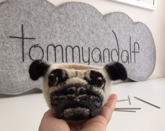 Small crochet felted Pug bowl