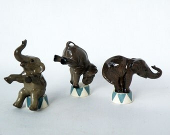 3 Art Deco Circus Elephants