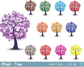 magic tree - trees clip art images - instant download digital file - PNG