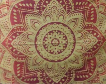 """Lotus Flower Authentic Indian Tapestry """"Twin"""" Size"""