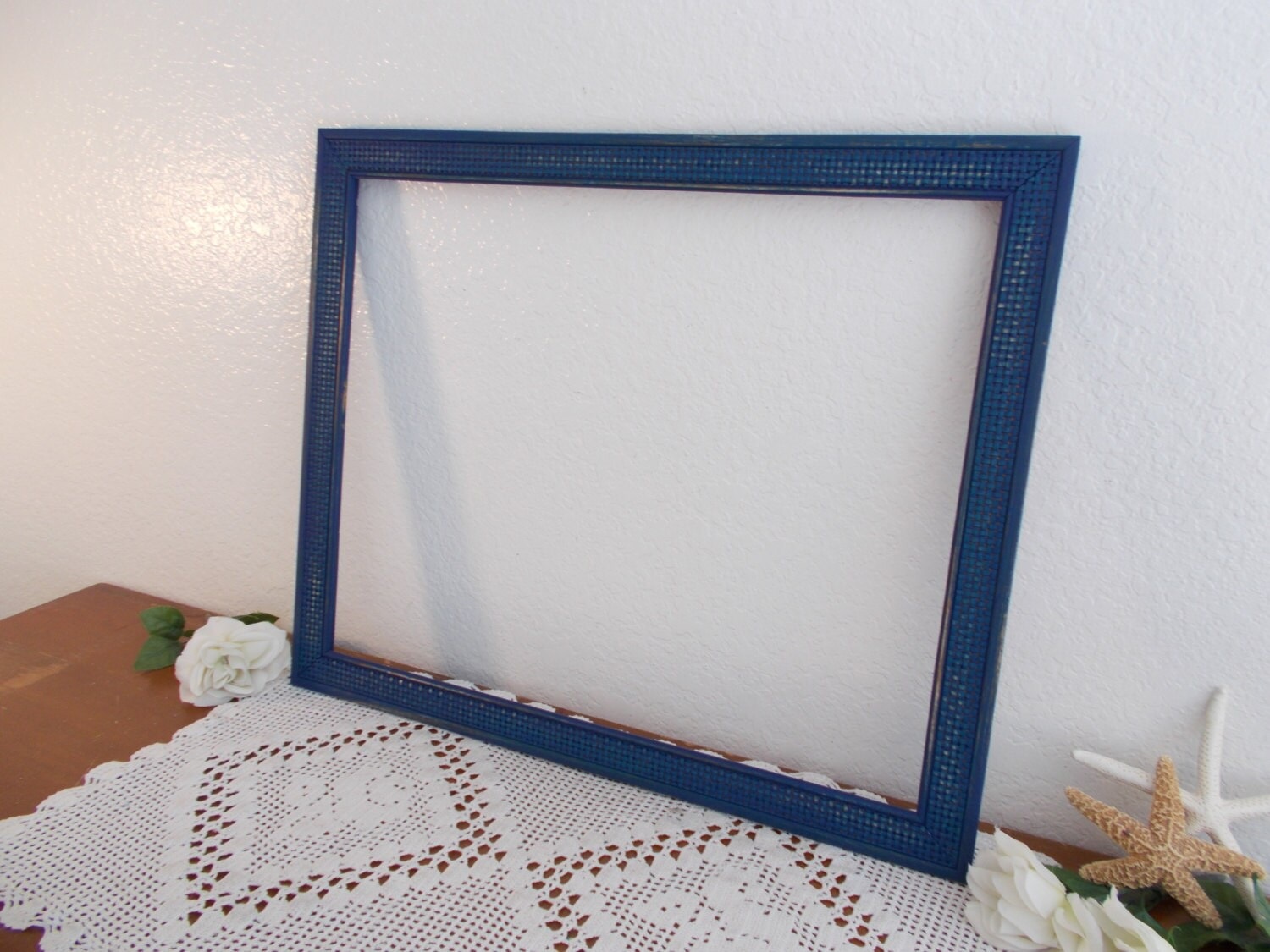 large navy blue picture frame 16 x 20 photo decoration rustic shabby chic beach cottage coastal. Black Bedroom Furniture Sets. Home Design Ideas
