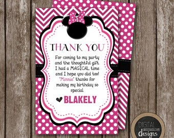 Hot Pink & Black MINNIE MOUSE Thank You Card- Custom - Personalized - Printable - Size 4x6 - Front and Back Included -