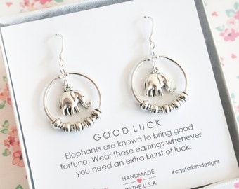 Elephant Earrings, Elephant Jewelry, Charm Earrings, Good Luck Charm, Lucky Elephant Hoops