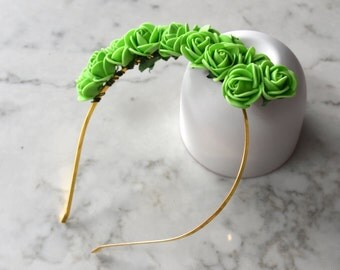Lime Green Rose Flower Headpiece / Fascinator - Gold Headband