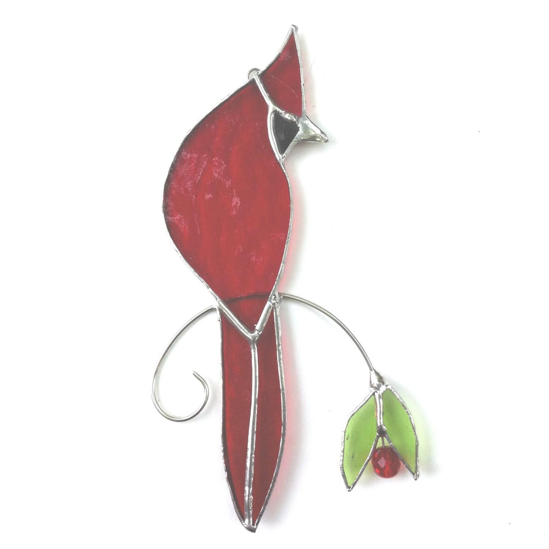Cardinal rouge handcrafted vitrail plaisir de fen tre for Fenetre a cardinal
