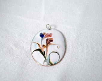 Hand-Painted Flower Pendant