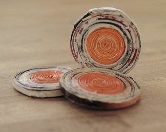 paper beads, recycled paper beads, round beads, orange paper beads, recycled beads, jewelry making, 3 recycled paper beads 45mm
