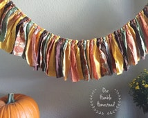 Fall Harvest Fabric Banner - Torn Fabric Banner, Rag Tie Banner, Bunting, Garland, Thanksgiving, Autumn, or Fall Decor