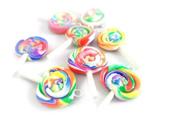 Miniature food charm / food jewelry / lollipop charm / clay lollipop charm / clay charm  / polymer clay food / charm bracelet